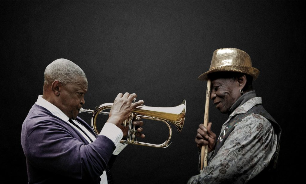 Tony Allen & Hugh Masekela Lead Photo 1 (low res) - credit Brett Rubin & Bernard Benant